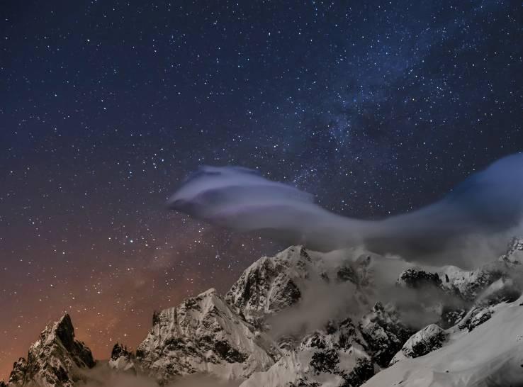 Mt Bianco: Luci e colori della notte