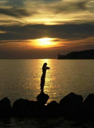 Silhoutte al tramonto