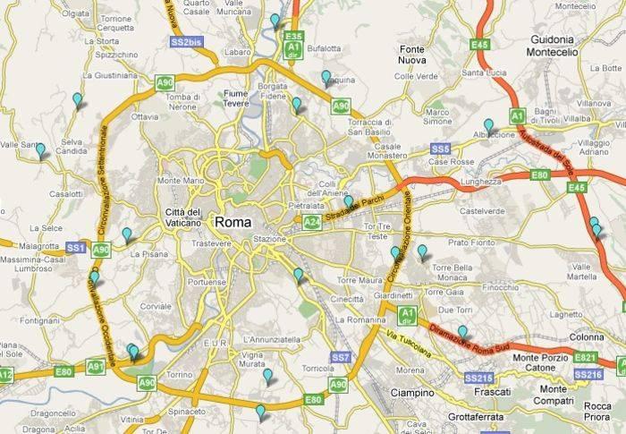 Area di Roma: i contrassegni azzurri segnalano i distributori di metano.