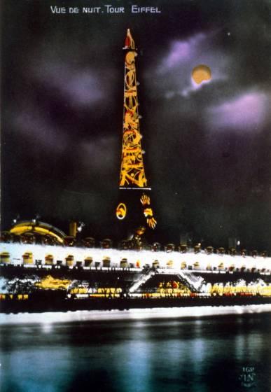 La tour Eiffel sponsorizzata in una cartolina d'epoca.