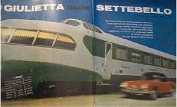 Il duello auto-treno. Da Quattroruote 1961.