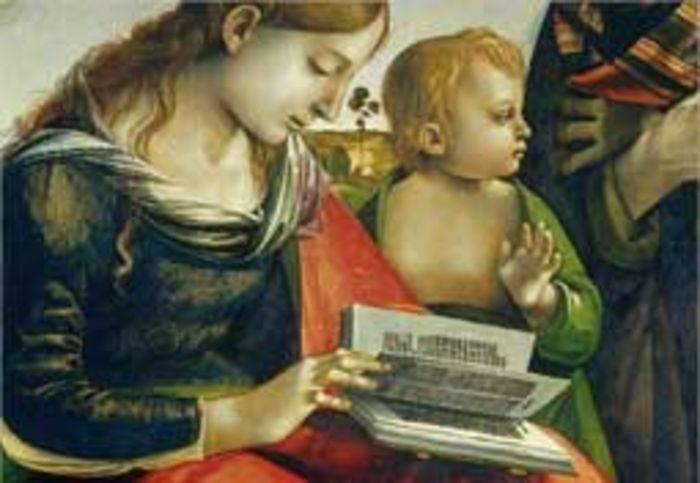 Luca Signorelli, Sacvra Famiglia (1485-88) dalla Galleria degli Uffizi, Firenze.