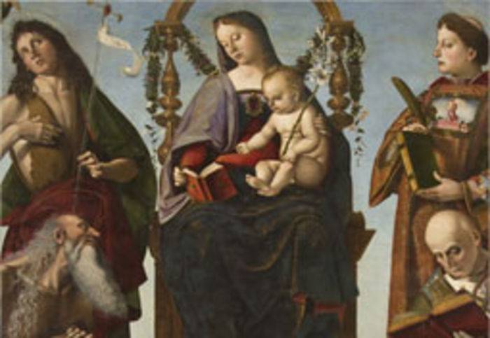 Luca Signorelli, Vergine con il Bambino e i santi Giovanni Battista, Onofrio, Lorenzo (?) ed Ercolano (?) e un angelo (1483-84), dal Museo Capitolare della Cattedrale di S. Lorenzo, Perugia