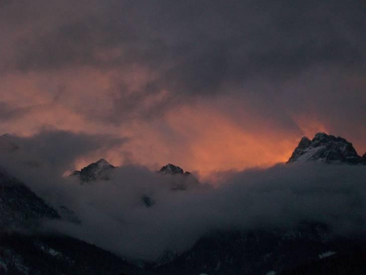 tramonto d'inverno a Sappada (BL)