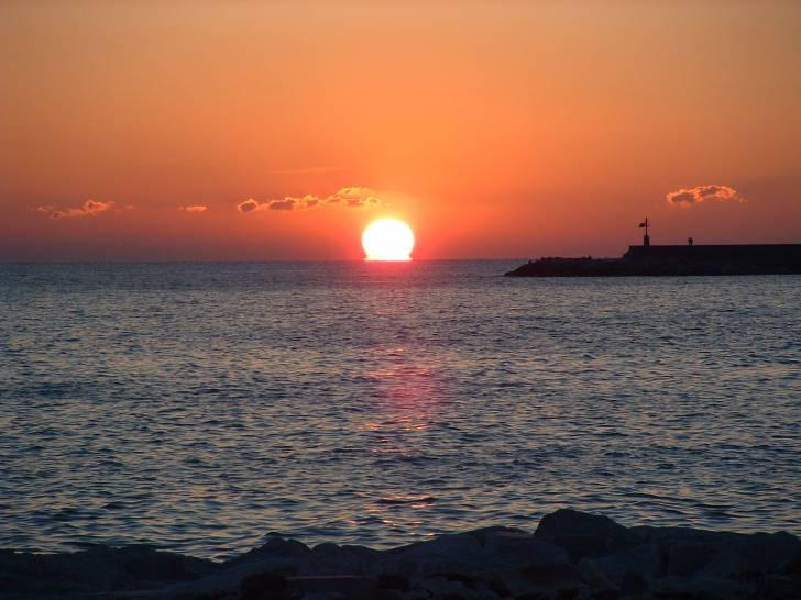 tramonto sul ,mare