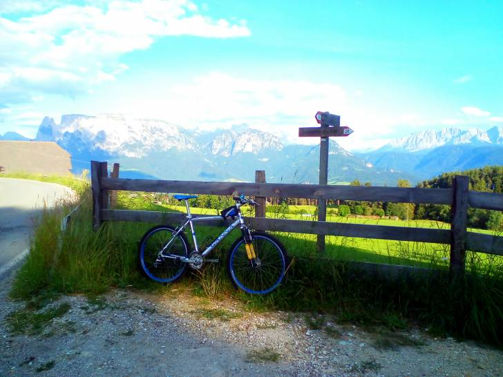 La mountain bike ed il monte Sciliar.