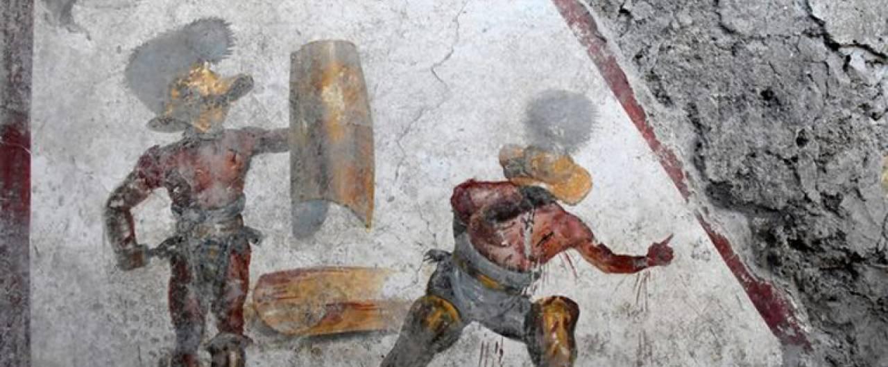 Nuova spettacolare scoperta a Pompei, l'affresco dei Gladiatori combattenti