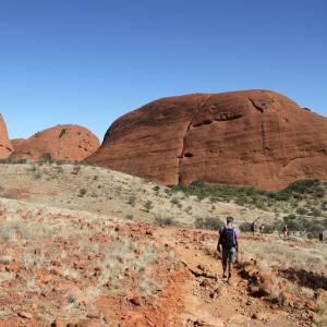 In camper ad Ayers Rock, nell'Uluru-Kata Tjuta National Park, in Australia